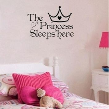 CREYUG3 The Princess sleeps here - Wall Say Quote Word Lettering Art Vinyl Sticker Decal Home Decor Words = 1946044932