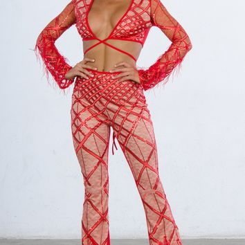 No Rules Red Sheer Mesh Feather Long Sleeve Diamond Geometric Pattern V Neck Crop Top Pant Two Piece Jumpsuit