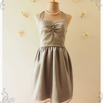Classy gray dress halter dress vintage inspired party dress prom dress evening dress bridesmaid dress party dress : BLOOM - size s, m ,l