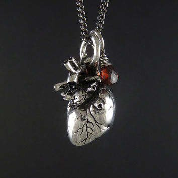 "Valentine Necklace - Anatomical Heart Necklace with Sterling Silver Wire Wrapped Garnet - Anatomical Heart Pendant on 24"" Gunmetal Chain"