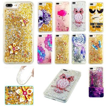 DigRepair  Dynamic Bling Liquid Glitter Quicksand Soft TPU Case Cover For iPhone 7 Plus Fashionable Shockproof  Phone Cases
