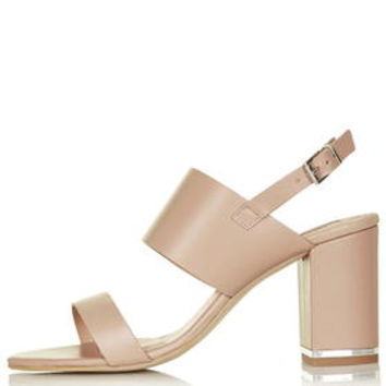 RAFFY Block Heel Sandals - Nude
