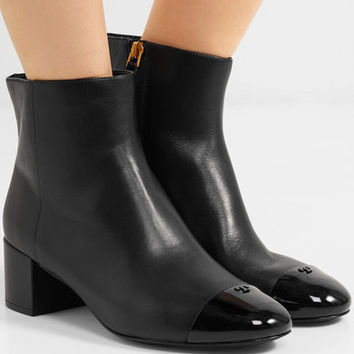 Tory Burch - Shelby patent-trimmed leather ankle boots