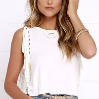 Strings Attached Ivory Fringe Top