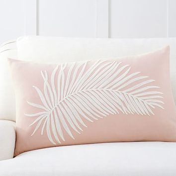 Fern Embroidered Lumbar Pillow Cover