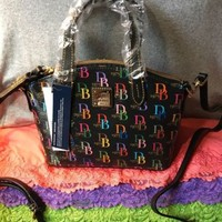 Handbag Dooney & Bourke Ruby Black Multi Coated Canvas Shoulder Bag Zip Satchel