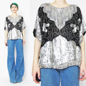 Vintage Black Silver Sequin Blouse Slouchy Sequin Top Silk Sequin Blouse Abstract 1980s Party Blouse Disco Evening Silk Tunic Top  (S/M)
