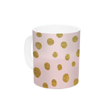 "Nika Martinez ""Golden Dots & Pink"" Blush Ceramic Coffee Mug"