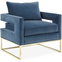 Bevin Accent Chair, Harbor Blue Velvet