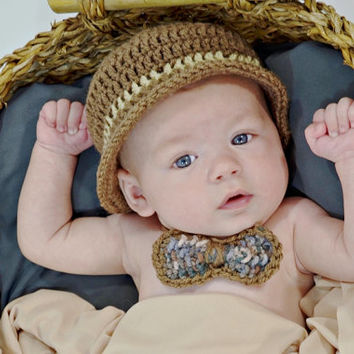 Baby crochet outfit, baby derby hat, cap and bow tie, derby cap, brimmed newborn hat, infant crochet cap, boy crochet set, crochet child set
