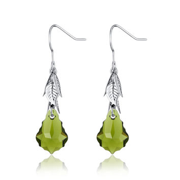 Baroque Drop Swarovski Elements Crystal Earrings - Green