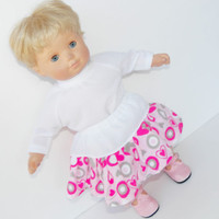 """Pink Heart Skirt White Shirt 2pc HANDMADE Clothes for Bitty Baby 15"""" Girl Doll"""