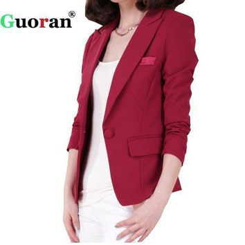 ESBIJ6 {Guoran} Women Blazers Formal Business Suit Blasers Jackets Single Button Plus Size Office Work Coats Black Red Female Overwear