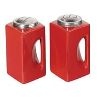 Red 2 Pc. EZ GRIP Salt and Pepper Shaker Set with Stainless Steel Tops