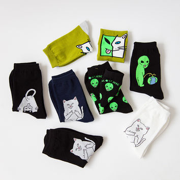 New Mid Crew Socks Lord Nermal RIPNDIP Alien Cat ET Pop-Up rip n dip Spaced WE OUT HERE Skater come in peace Men Road Trip 34-43