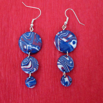 navy blue polymer clay jewelry,polymer clay earrings,blue boho earrings,affrodable earrings,gift for her,hippie earrings,colorful earrings