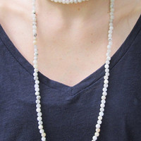 Beaded Double Wrap necklace- White Quartz