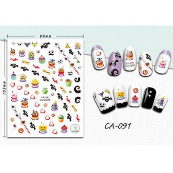 New Fashion 1 Sheet Nail Stickers Halloween Pattern Mixed Nail Decals DIY 3D Nail Art Stickers Manicure Decals LACA091-099