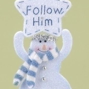 """Club Pack of 12 Religious """"Follow Him"""" Snowman Angel Christmas Ornaments 8"""""""