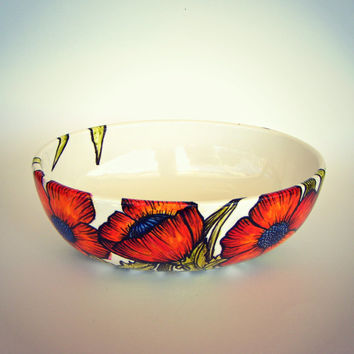 Poppies Ceramic Bowl Hand Painted Orange Red Poppy Flowers Green Leaves Nature Illustrated Modern Fall Home