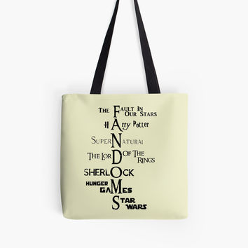 Fandoms, Supernatural, Harry Potter, LOTR, Sherlock by NerdGirlTees