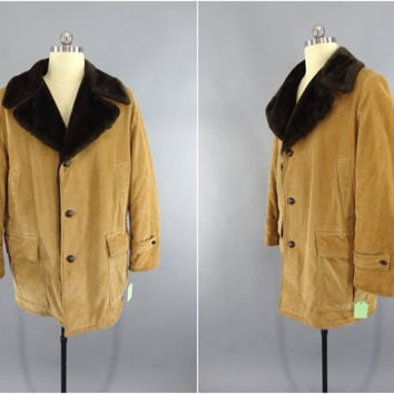 Vintage 1980s Coat / 1970s Men's Car Coat / 70s Corduroy Jacket / 80s Tan Corduroy Jacket / Lumberjack / House of Peerless Winnipeg Canada