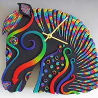 Horse Clock or Wall Art Sculpture in Black and Rainbow Crazy Stripe Polymer Clay