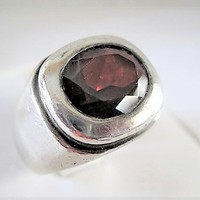 Sterling Faceted Glass Ring, Red Glass Stone,  Wide Band,  Size 8 3/4, Unisex Ring, Bezel Set
