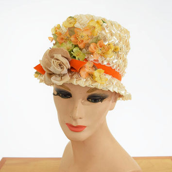 60's Cello Straw Silk Flower Bucket Hat
