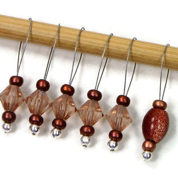 Knitting Stitch Markers Beaded Copper Brown Snagless Snag Free Knitting Markers