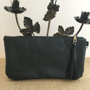 Black Genuine Leather Clutch Bag ,Leather Clutch Purse, Cow Leather Clutch Bag,Boho Chic,Black Leather Pouch,Boho Leather Bag,Leather Clutch