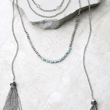 Extraordinary Talent Blue and Silver Layered Necklace