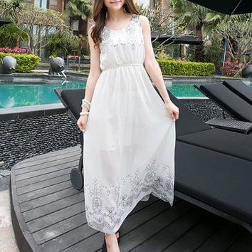 White Sleeveless Empire Maxi Dress