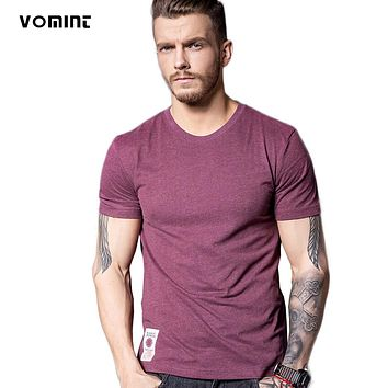 New Solid T-Shirt Men Short Sleeve T-shirt Cotton Multi Pure Color Fancy Yarns Washing Tee Shirt