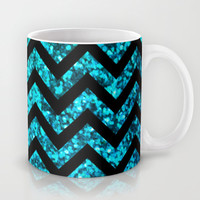 Chevron Aqua Sparkle (Not Real Glitter) Mug by M Studio