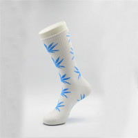 Marijuana Weed Leaf Printed Cotton Long Socks (Grey - Blue)