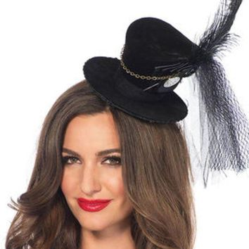 Steampunk Velvet Top Hat With Chain And Feather Accent In Black