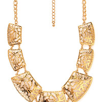 FOREVER 21 Cutout Craze Collar Necklace Gold One