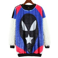 ERLKING Women's Clown Face Fleece Tee Top Furry Sweatshirts Color Black Size Free Size