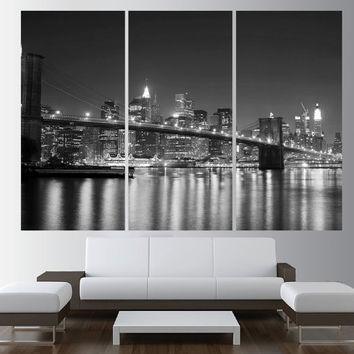 New York skyline Canvas wall art, extra large wall art, black and white new york wall art print, new york canvas art print t459