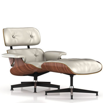 Herman Miller Eames Lounge Chair and Ottoman in White Ash