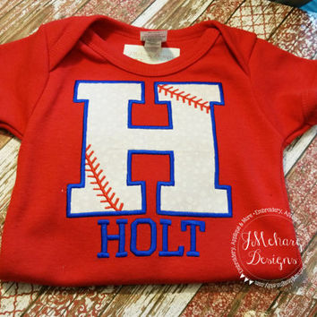 Baseball Themed Applique shirt - Baseball & Cheer Shirt  - infant to adults!
