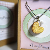 Miniature Food Necklace: Palmier Biscuit with crystal glass bead