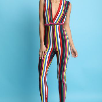 Colorful Stiped Plunging V-Neck Fitted Jumpsuit
