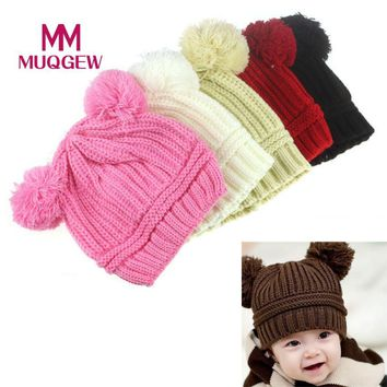 MUQGEW Top Quality Cute Baby Kids Girl Boy Dual Balls Warm Winter Knitted Cap Hat beret cap winter boina casquette