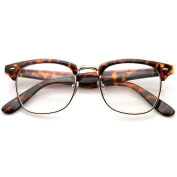 Leopard Horned Rim Clear Lens RX'able Half Frame Horn Rimmed Glasses
