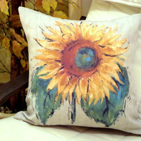 Unique Van gogh sun flower pillow – Painted cushion cover 20x20