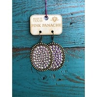 1RTSE81BAB Bronze oval w/ AB crystals on bronze overlay earrings