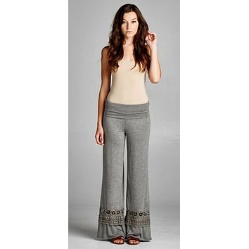 Pants with Decorative Bottoms - Gray
