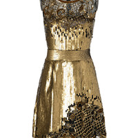 Alberta Ferretti - Sequin and Lace Cocktail Dress